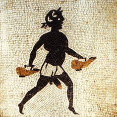 Pompeii'de bir evin banyosunda banyo yapacakları aşırı sıcak zemine karşı uyarmak için yapılan mozaik. Romalılar Etiyopyalıların güneşe fazla maruz kaldıkları için yandıklarına inanıyor ve aşırı sıcaklardaki tehlikeleri belirtmek için siyah insan...