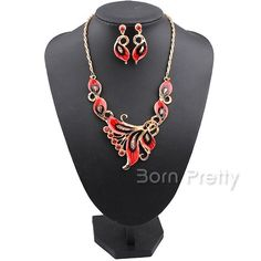 $6.02 Classic Wedding Butterfly Pendant Unique Elegant Necklace Earrings Jewelry Set 5 Colors - BornPrettyStore.com. Use my 10% off code PQL91