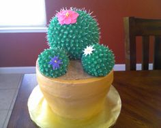 """Cactus - Cactus cake made for a teacher appreciation luncheon on cinco de mayo. The pot is chocolate cake with a chocolate ganache filling, and the cactus is RKT. I used the buttercream dream icing recipe found on this site, royal icing for the spikes, and fondant flowers. My yummy sand is made from graham crackers, brown sugar, cinnamon, and """"sugar in the raw""""."""