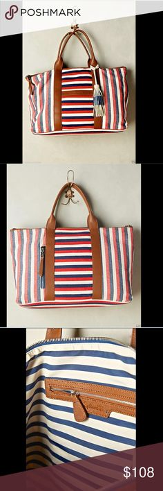 "Anthropologie red, white & blue, Large Tote Bag Anthropologie Splendid red, white & blue, brown leather handles Bellamy Striped Large Tote Bag  extra large striped canvas tote bag with brown handles & leather accents  Big suede tassel detail  * Two outer, three inner pockets   Zip closure New With Tags * Extra Large    Cotton, polyurethane vegan leather; cotton lining   Imported    12.5""H, 21""W, 6.5""D   8"" strap drop  Check out my other items! Be sure to add me to your favorites list…"