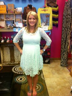 The dress I am wearing to Poppie Lee's baby shower! It is lace light light pale blue almost white! I'm in love :) my hubby accidentally broke the tie on my ASOS maternity dress for pics that I was gonna wear so I got to buy a new even better one :)