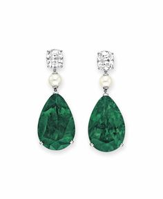 A pair of emerald, diamond and pearl earrings #christiesjewels #earrings