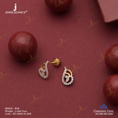 Gemstone Earring jewellery for Women by jewelegance. ✔ Certified Hallmark Premium Gold Jewellery At Best Price Gold Earrings For Kids, Gold Jewelry Simple, Gold Rings Jewelry, Jewelry Design Earrings, Gold Earrings Designs, Small Earrings, Real Diamond Earrings, Gold Jhumka Earrings, Etsy Earrings