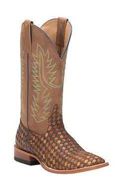 5c68948b69b647 Anderson Bean Horse Power Men s Brown  amp  Tan Woven with Tan Top Square  Toe Western