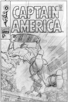 Cover pencils by Jack Kirby for CAPTAIN AMERICA #105, already heavily altered by other hands to change the position of Cap's legs. The final cover would be largely redrawn by other people, including Jim Steranko, John Romita and Dan Adkins.