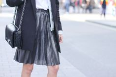 """French blogger """"Chloe and You"""" wearing our disco-feeling skirt on the streets of London."""
