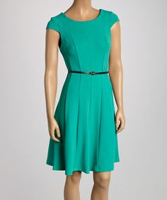Love this Green Pleated Belted Cap-Sleeve Dress on #zulily! #zulilyfinds