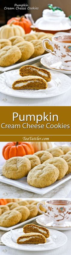 Pumpkin Cream Cheese Cookies - soft and chewy pumpkin flavored cookies with a cream cheese filling and a cake-like texture. | TeaTattler.com