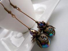 Ox copper dangle earrings copper flower earrings black by BeAliter