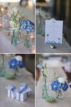 Table decoration wedding – decoration blue white - Decoration For Home Blue White Weddings, White Wedding Flowers, Rose Wedding, White Flowers, Wedding Colors, Diy Wedding, Wedding Day, Wedding White, Table Decoration Wedding