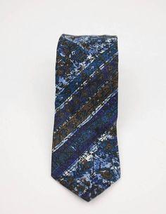 Retro Blue and Red Vintage 70s 60s Necktie Tie Mens Womens Geometric Pattern Handmade