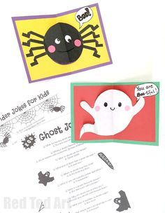 Easy Halloween Pop Up Cards for Kids - includes fun Spider and Ghost Jokes for Kids. Combine the card with your favourite joke for some fun and spooky giggles! Family will LOVE to receive them!