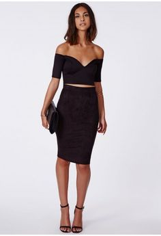Style this black burnout midi skirt with the matching crop top for ...