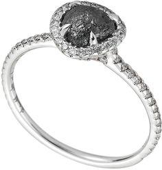 Diamond in the Rough :: Classic Ring - 1.17ct rough black diamond, 18k white gold :: $3500