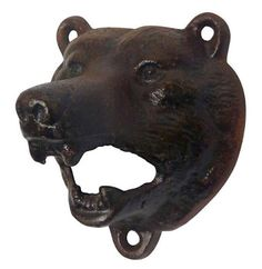 Cast Iron Wall Mount Grizzly Bear Bottle Opener - Brown