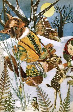 Иллюстратор Adrienne Segur.Популярные сказки.Страна Франция.Год издания 1955.Издательство Flammarion..Three Dwarfs of the Forest ......Сестрица Аленушка и братец Иванушка....Баба-Яга......The Cat Who Became Lord of the Forest....