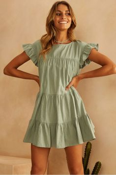 Buy Apollo Dress Sage Fortunate One colour Green in the online store - TopTrendBrand Sage Green Dress, Green Dress Casual, Cotton Dresses, Cute Dresses, Casual Dresses, Bohemian Dresses Short, Green Bridesmaid Dresses, Online Clothing Boutiques, Buy Dress