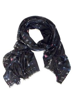 Yarnz NYC Embroidery Black Patterned Silk & Cashmere Scarf at The Cashmere Shop Toronto