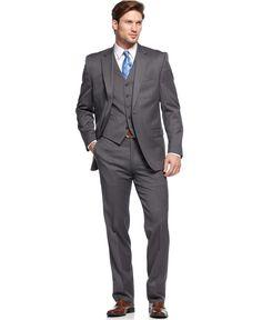 Lauren Ralph Lauren Suit Charcoal Solid Vested - Suits & Suit Separates - Men - Macy's