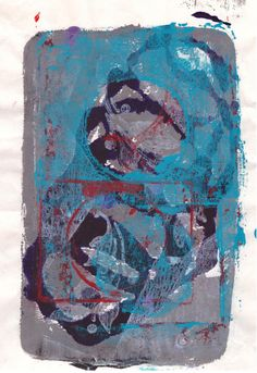 Abstract monotype, hand pulled print, homemade gelatin plate, acrylic paints, stencils, contemporary art, modern art, blue art, art print