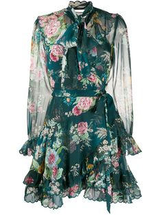 Teal tie neck floral print dress from Zimmermann featuring a tie fastening, long sleeves, a layered design, a short length and a floral print. Floral Dress Outfits, Flowery Dresses, Yellow Floral Dress, Women's Fashion Dresses, Green Dress, Floral Print Dresses, Sheer Floral Dress, Floral Clothing, Floral Dress Design