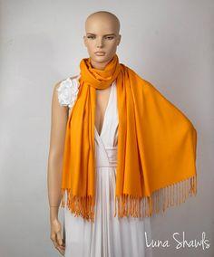 Orange Shawl Wedding Shawl Orange Pashmina by LunaShawls on Etsy