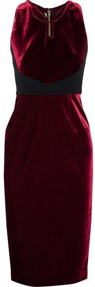 Roland Mouret - Mennan Crepe-paneled Velvet Dress - Burgundy