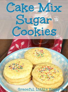 These cake mix sugar cookies use only 3 ingredients and they always turn out soft and chewy!