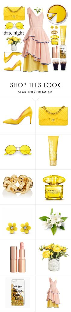 """Summer Date Night"" by soranamikaze ❤ liked on Polyvore featuring Rupert Sanderson, Chanel, Ray-Ban, Clinique, Versace, WithChic, Charlotte Tilbury, Queen Bee and Anna October"
