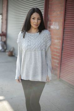 gray top with sweet thumbhole sleeves