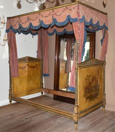 Shop beds and bed frames and other antique and vintage collectibles from the world's best furniture dealers. Cool Furniture, Painted Furniture, Four Poster Bed, Bedding Shop, Bed Frame, Valance Curtains, Beds, Ethnic, Bedrooms