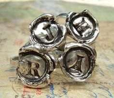 Wax Seal Monogram Ring in Recycled Fine Silver by HappyGoLicky, $48.00