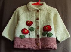 """Wool Baby Girl Cardigan  12 Month Size Sweater by SilverMapleKnits, $39.95 [   """"Wool Baby Girl Cardigan - 12 Month Size Sweater With Red Poppies"""" ] #<br/> # #Baby #Knitting,<br/> # #Wool #Sweaters,<br/> # #For #Girls,<br/> # #Little #Girls,<br/> # #Baby #Girls,<br/> # #Baby #Knits,<br/> # #Felt #Flowers,<br/> # #First #Birthday #Gifts,<br/> # #First #Birthdays<br/>"""