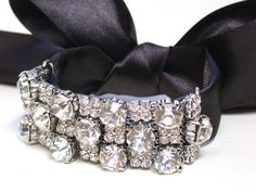 Bridal Crystal Rhinestone And Satin Ribbon  Bracelet - Perfect for Bride, Wedding, Bridesmaids And Formal