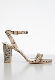 Beri heel - snake Superbalist Heels | Superbalist.com Snake Print, Block Heels, Open Toe, Ankle Strap, Two By Two, Footwear, Prints, Shoes, Fashion