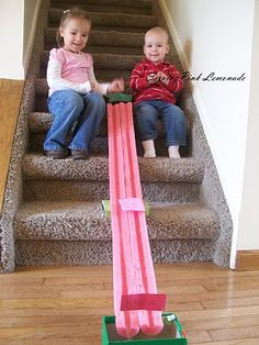Marble race track made from a pool noodle.