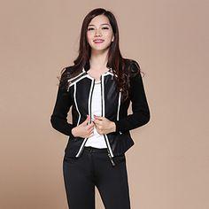 Negro de manga larga de la capa delgada de la PU de la luna del otoño Mujeres – EUR € 20.62