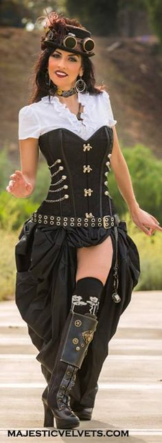 Brown or Black Steampunk dress with Steampunk corset with clasps, buckles, chains and Taffeta bustle skirt. - lovely ..j