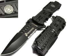 Licensed USMC MARINES Spring Assisted Military Knives BLACK Tactical T