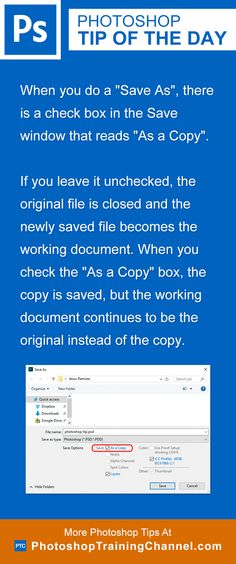 """When you do a """"Save As"""", there is a check box in the Save window that reads """"As a Copy"""". If you leave it unchecked, the original file is closed and the newly saved file becomes the working document. When you check the """"As a Copy"""" box, the copy is saved, but the working document continues to be the original instead of the copy."""