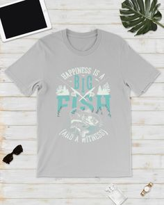 Happiness is A Big Fish And A Witness T-Shirt - Ash #birthdaygifts #animals #goat fishing women, fishing boat, fishing rod storage, back to school, aesthetic wallpaper, y2k fashion