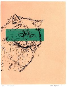 House Cat Print by Against the woodgrain $15 #etsy #cats #green #print
