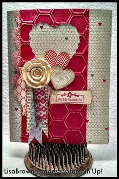 Stampin' Up! Valentine  by Lisa Brown at ink and inspirations: Artisan-embellishments-valentine-card
