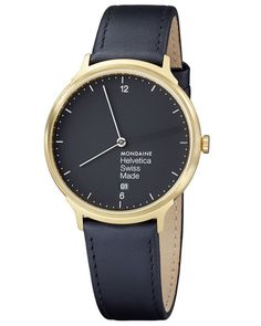 Helvetica No1 Light Watch Black/Gold by Mondaine