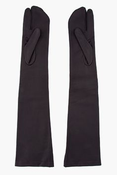 MAISON MARTIN MARGIELA Black Leather Tabi Gloves