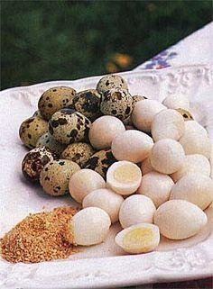 I never get enough ideas for using quail eggs! Four quail eggs = one chicken egg