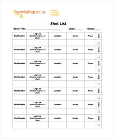 Simple Film Shot List Template , Essential Elements To Be Involved In Shot List  Template Making