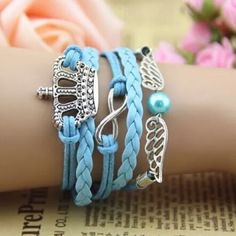 """Crown Infinity Bracelet New. Cute blue bracelet. approx. 7""""L to approx. 8.75""""L with extender chain. Lobster clasp. No Trades. Boutique Jewelry Bracelets"""