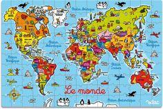 Vilac 2604 - Cartina Geografica del Mondo Puzzle, in Valigia, Legno Colorato: Amazon.it: Giochi e giocattoli