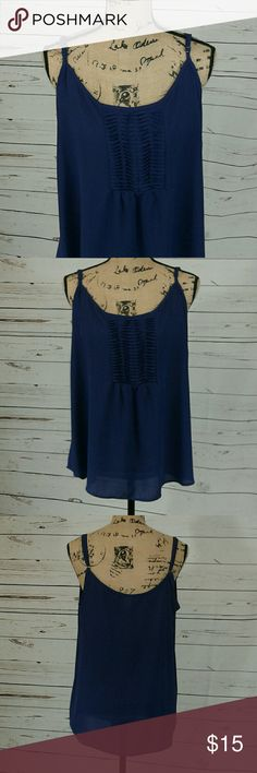 Torrid adjustable strap blue sheer cami Cute design at bust,  gorgeous blue color. 100% polyester. Armpit to armpit is 22 inches. torrid Tops Camisoles